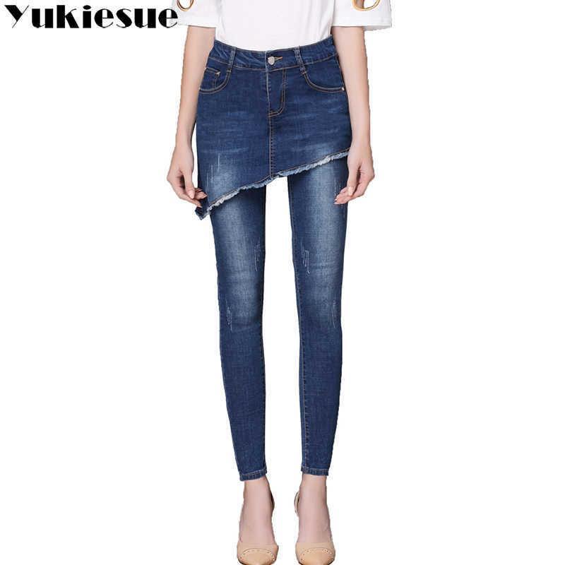 Yukiese weibliche Jeans High WASIT Vintage Denim Frau dünn Lange Bleistift Hosen Röcke Frauen Plus Größe 210608