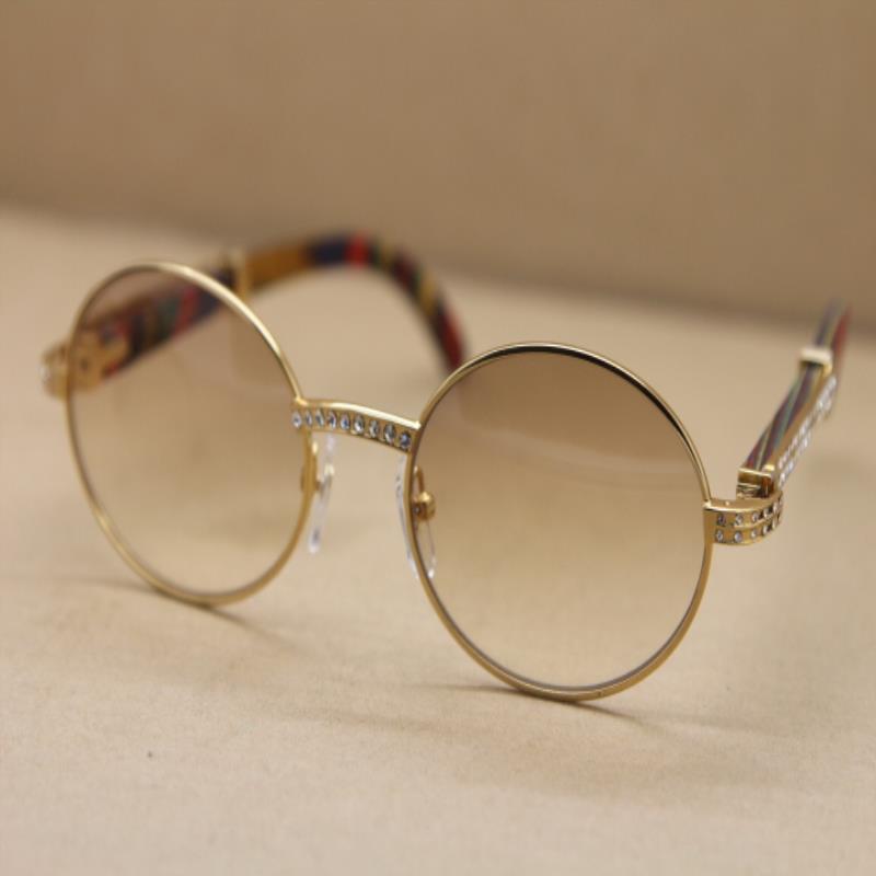C Taille: 55-22-135mm Diamant 7550178 Sunglasses de paon de paon cadre de lunettes de soleil lunettes de soleil rounds de lunettes de soleil Glasseframe or décor populaire Mot de tête