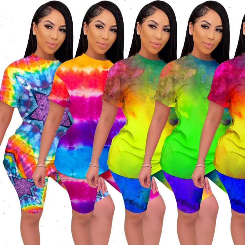여성 Tracksuits 세트 여름 피트니스 짧은 소매 넥타이 염료 인쇄 탑스 반바지 슈트 두 조각 세트 스포티 2 개 복장