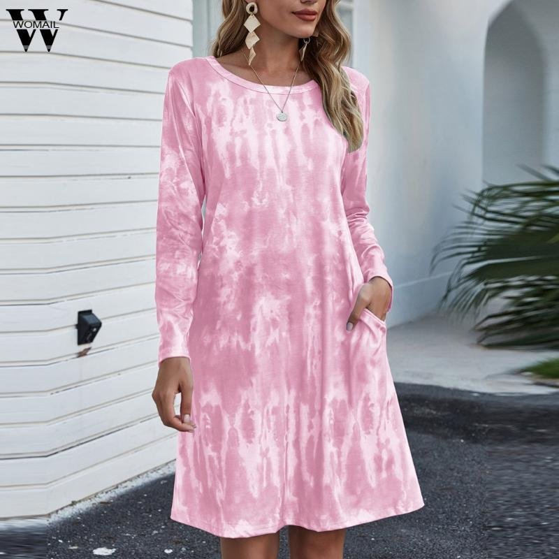 Tie-tingido impressão bolsos vestidos mulheres outono moda gradientes vestido de lazer mangas compridas o-pescoço solto macio casual #st