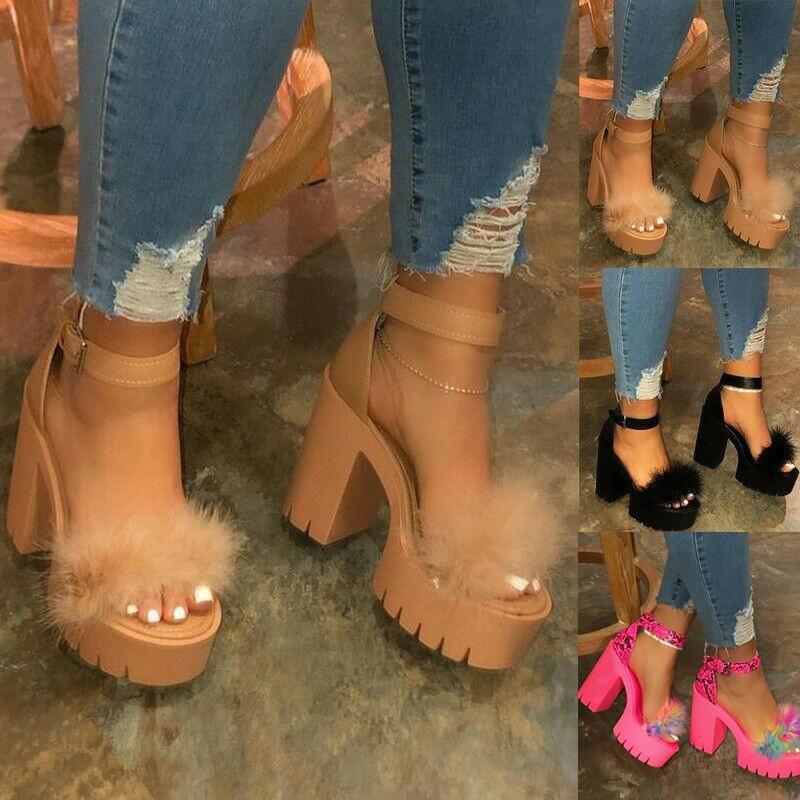 Womens Open Toe Ankle Strap Platform Heels High Heel Sandals For Summer Party J55