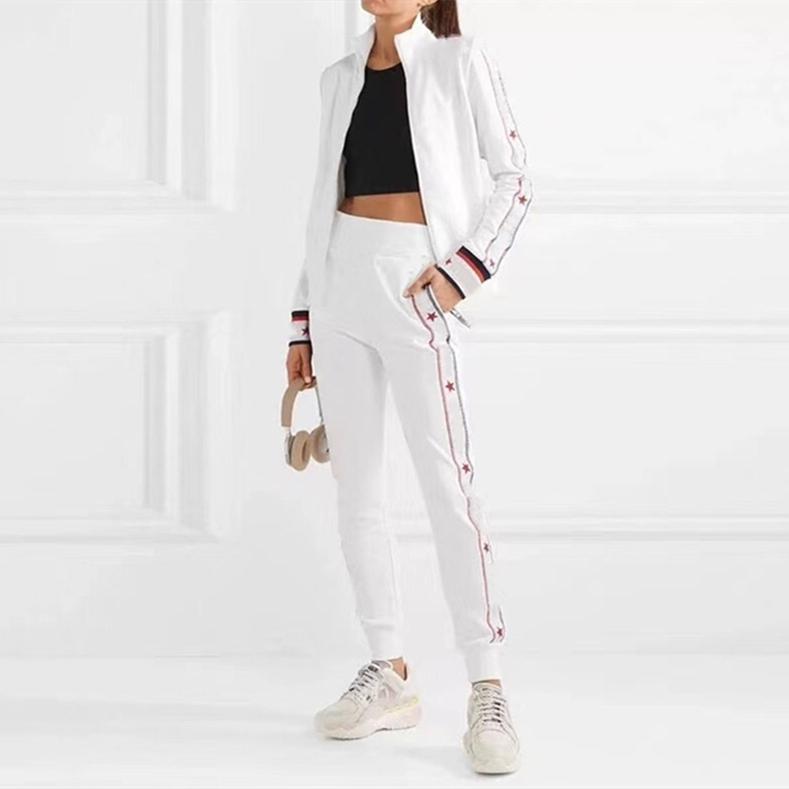 20ss Üst Tasarımcılar kadın Eşofmanlar Spor Suit Bayan Milano Pist Beyzbol Sweatsular Yuvarlak Boyun Mektubu Lüks Uzun Kollu Pamuk Yüksek Kaliteli Spor Set