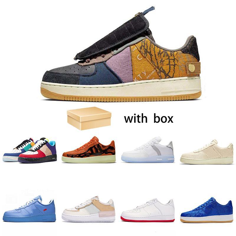 2021 Vintage Kuvvetler AF1 1 Ayakkabı Paten N.354 Kaktüs Jack Siyah Beyaz Kahverengi Keten Turuncu Erkek Kadın Düz Açık Spor Sneakers Boyutu 36-46