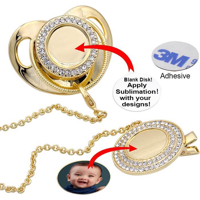 Personalize a chupeta de bling de sublimação com clipe colar de cristais Favor do festa para o presente de Brithday da lembrança do bebê