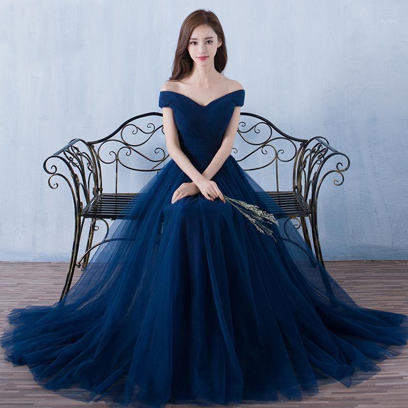 신부 들러리 드레스 우아한 긴 결혼식 파티 드레스 플러스 사이즈 네이비 블루 들러리 드레스 얇은 명주 그물 로브 수영자 vestidos1