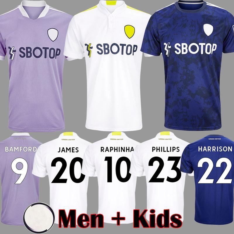 21 22 Leeds James Soccer Jersey 2021 2022 United Home Camisa de Futebol Phillips Bamford Raphinha Llorente R Rodrigo Homens Kits Kits Kits Conjuntos 999