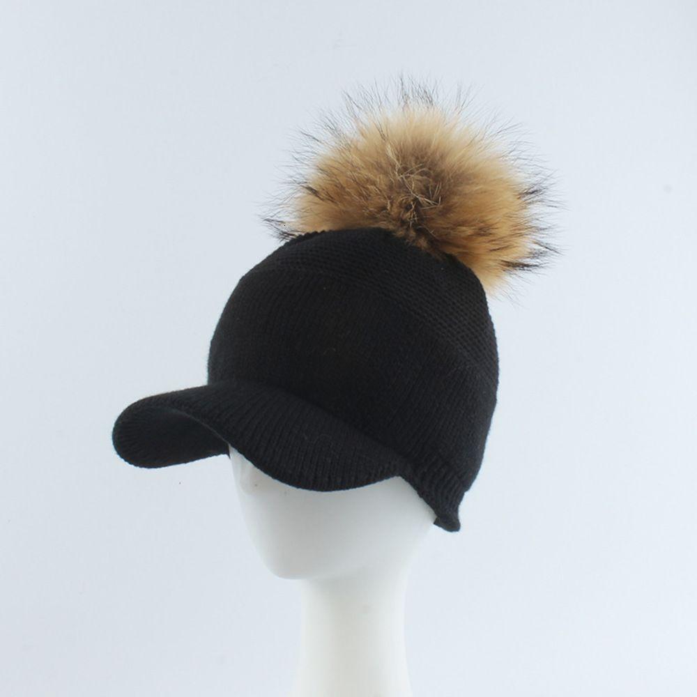 Cap Raccoon Dog Bola de pele de malha de beisebol outono e inverno pelúcia curva borda senhora boné