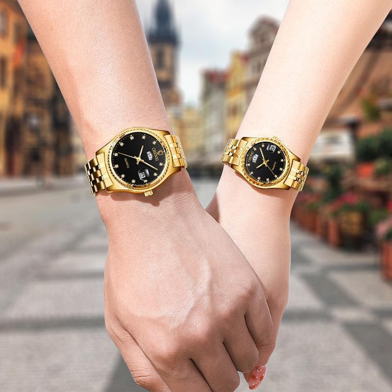 Altın İzle Erkekler Takvim Çift Relogios Masculinos De Luxo Orijinal Kadın Kuvars Saatler Orologio Donna Parejas Regalos Saatı