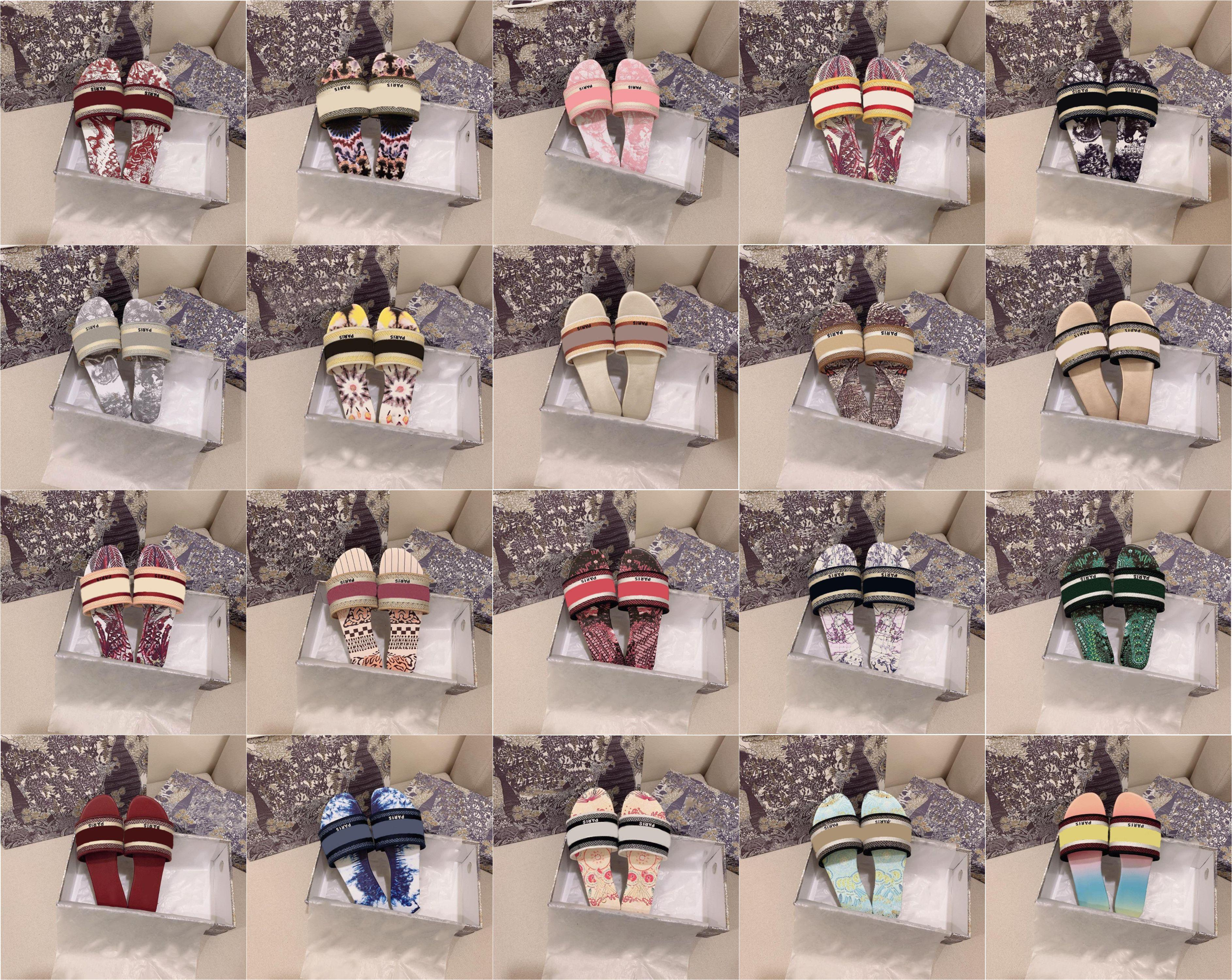 2021 Luxurys Designers Slides leather sandals summer flat shoes fashion Beach Women's big rainbow letter slippers