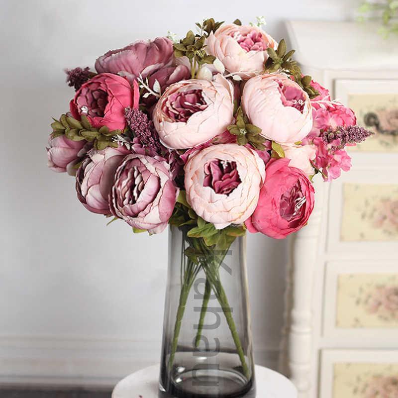 50cm 핑크 실크 모란 인공 꽃 큰 꽃다발 배열 가짜 꽃 흰색 DIY 홈 호텔 파티 웨딩 장식 화환