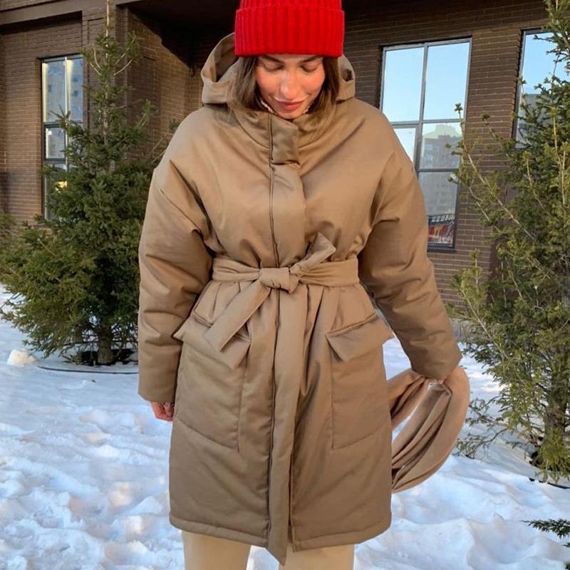 캐주얼 후드 파카 여성 패션 봄 단단한 중반 길이 코트 우아한 따뜻한 넥타이 벨트 코튼 자켓 여성 숙녀 여성