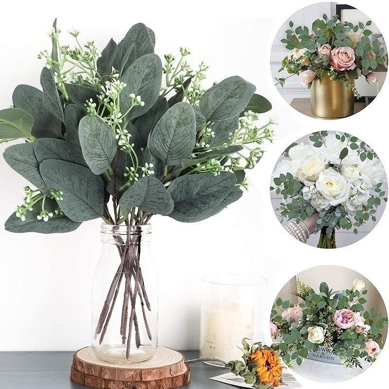 Декоративные цветы венки искусственные эвкалипты листья стебли EUCALIPTO ветви растений для цветочных букетов свадьба праздник зеленее декор