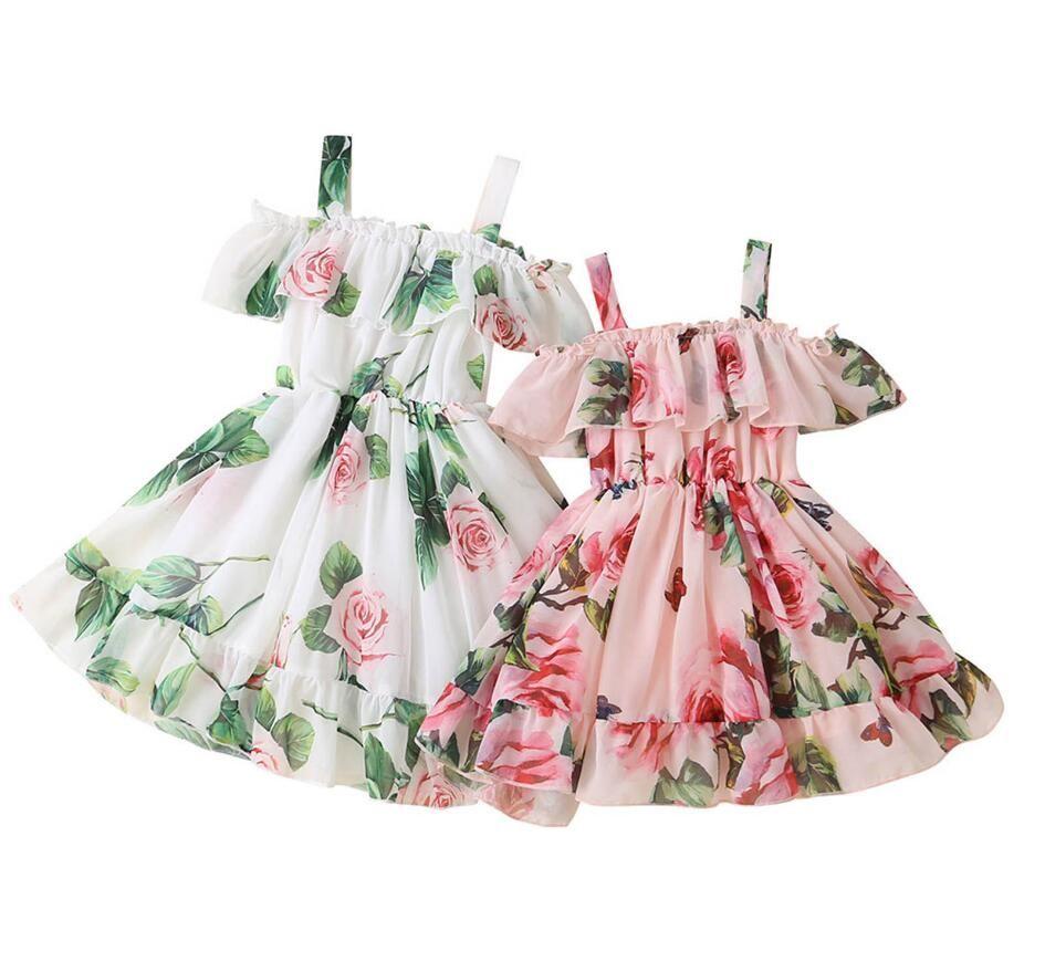 Baby Girl Dress Fashion Floral Print Sleeveless Casual Ruffle Slip Party Princess Girls Summer Dresses