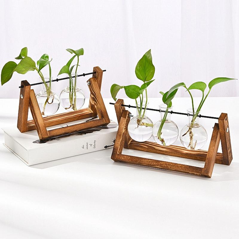 Creative Hydroponic Plant Bonsai Wooden Frame Glass Vase Modern Living Room Desktop Decorations Flower Pots