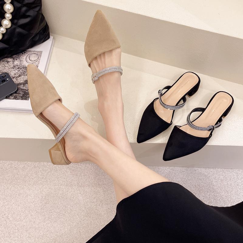 Обувь Обложка Toe Тапочки Мягкие Мулы для Женщин 2021 PantOfle Роскошные Слайды Квадратный Каблук Низкий Комфорт Плоский Дизайнер Блок Резина