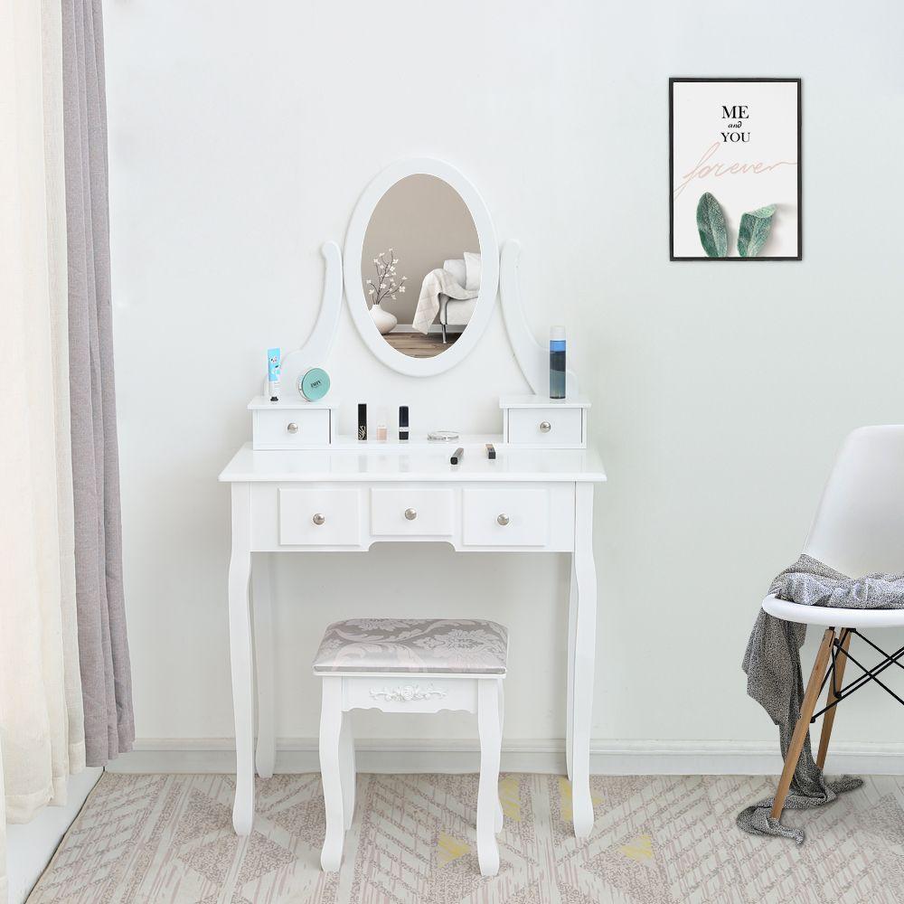 Waco Canity Makeup Table Set, с овальным зеркальным табуретом, мебель для спальни из дерева Table Tables 5 ящиков - белый