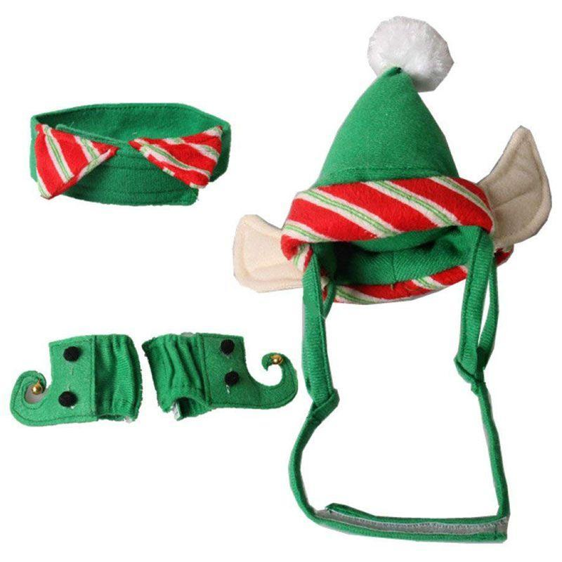 Dog Apparel Christmas Pet Costume Neck Collar Leg Sleeve Cuffs Santa Hat For Cat Party Cosplay Supplies