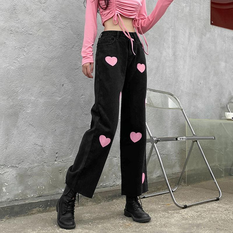 Shengpalae Streetwear Rosa doce amor impressão jeans mola mola 2021 nova cintura alta tubo reto calças jeans feminina 5b555