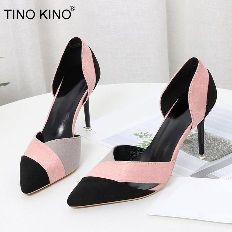 Tino Kino Yeni Kadın Sivri Burun Zarif Yüksek Topuklu Moda Kadın Ayakkabı Bayanlar Süet Karışık Renk Kadın Parti Ayakkabı Bayan
