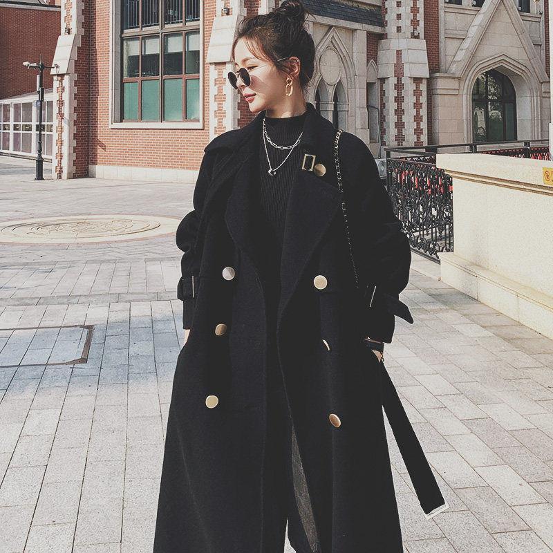Women's Wool & Blends Autumn Winter Woman Thick Warm Long Jacket Women Fashion Korean Retro Sleeve Overcoat Casual Woolen Coat W77