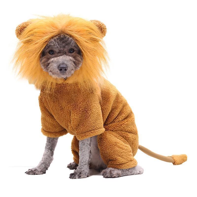 Hundebekleidung Mode Winterkleidung Kreative Haustierhunde Cosplay Lion Hooded Kostüm Warme Welpen Komische Outfits Für Party Festival Sets