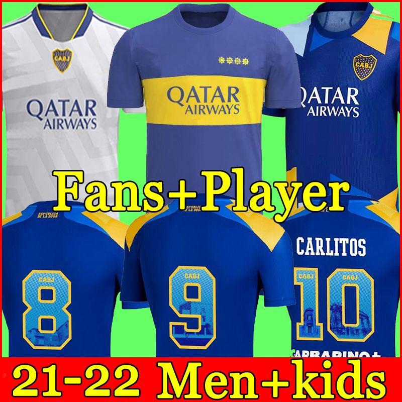 21 22 Boca Juniors de Rossi Soccer Jersey 2021 Inicio Tevez Carlitos Maradona Camisas romana de Salvio Abila Pavon Uniforme de fútbol