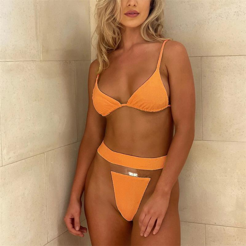 Bikinis Kadınlar Yüksek Bel Mayolar Bandaj Seksi Push Up Plavky Yüzme Mayo Biquini Şeffaf Bikini Set Kadın Kadın