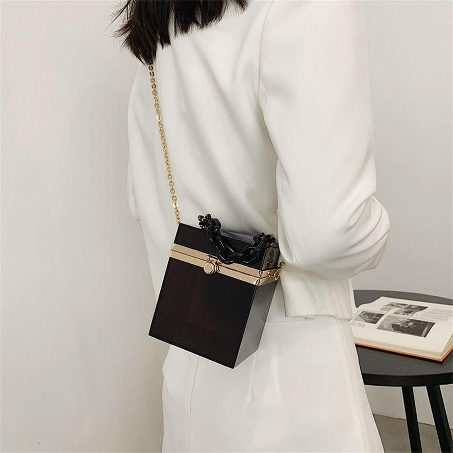 Tendência acrílica Feminina 2021 New Chain Bolsa One Ombro Moda Messenger Bag
