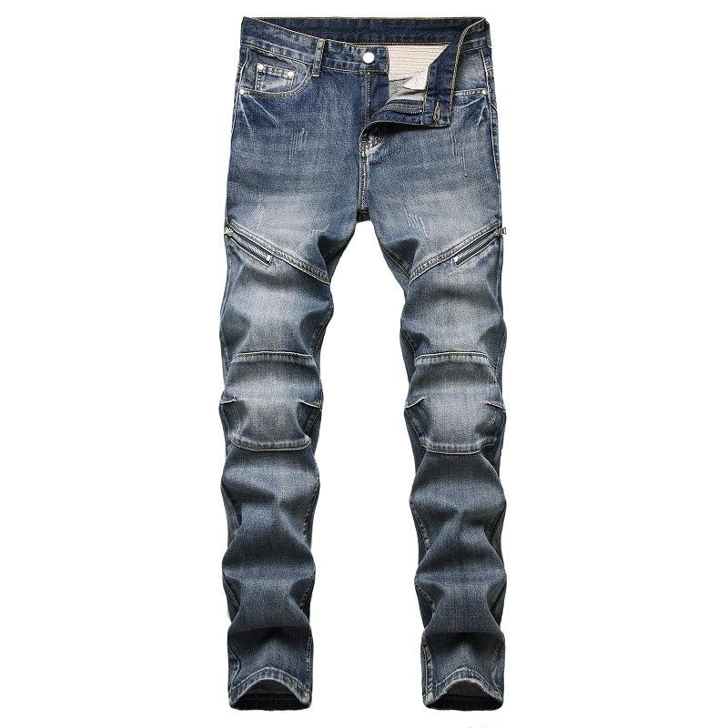Otoño e invierno 2021 Jeans para hombre Personalizado Cremallera nostálgica Decoración Jeans Menores de moda
