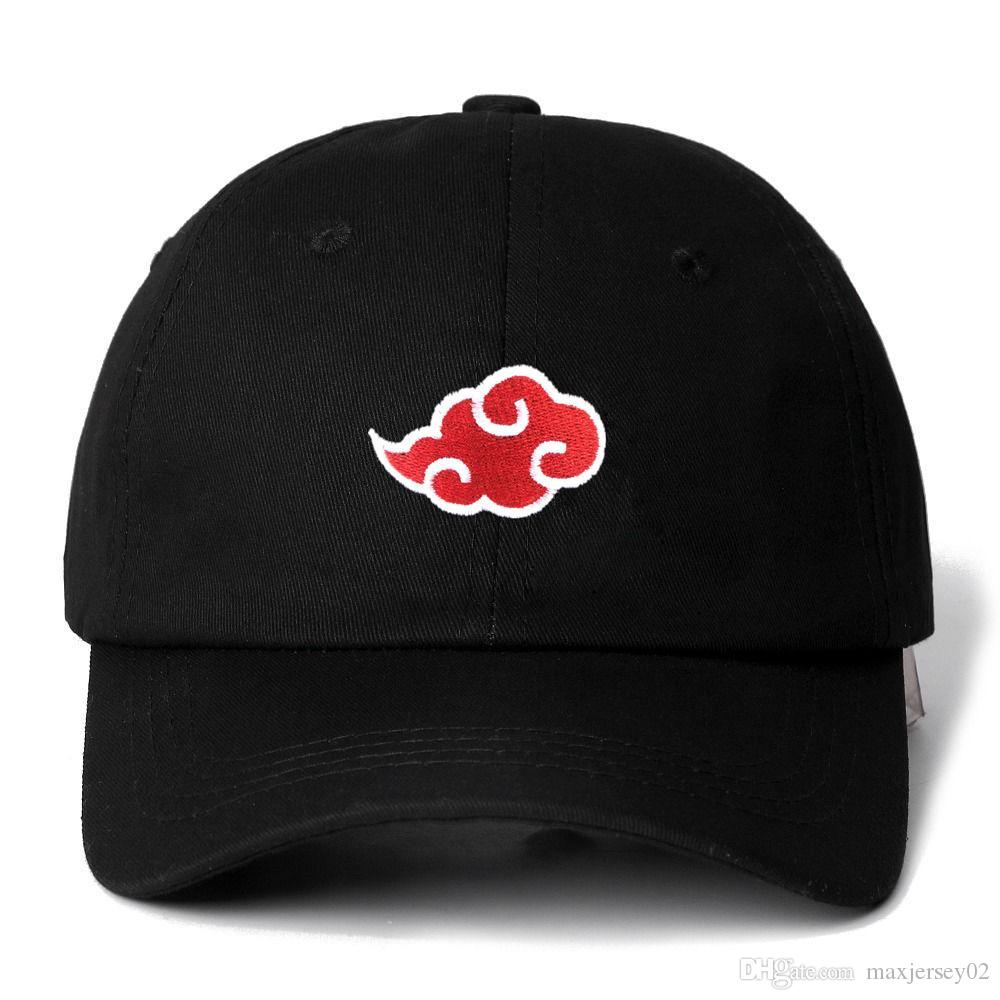 Nouveau 100% coton casquette japonais akatsuki logo anime naruto papa chapeau uchiha famille logo broderie baseball casquettes black snapback chapeau
