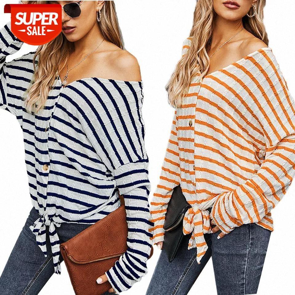 Camiseta para mujer de moda de manga larga con rayas impresas con cuello en V tops suéter túnica casual Pullover Spring Plus Tamaño Fiesta # JM6J