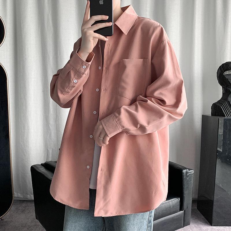 Loose grande unisex masculino estudante sólido camisa casual casaco casaco de cardigan