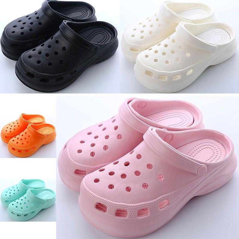 새로 판매 여자 여름 두꺼운 솔 홀 신발 숙녀 높이 증가 신발 검은 흰색 오렌지 핑크 여자 비치 클래식 샌들 슬리퍼