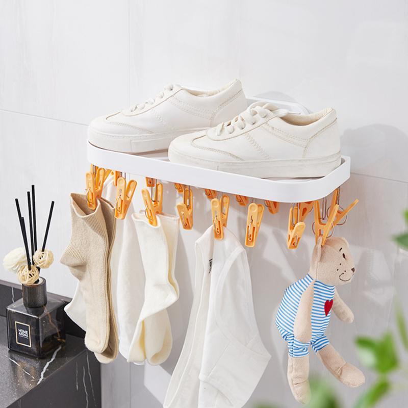 Вешалки стойки 17 клипов носок сушки стойки настенные полки пространство экономии ванной Шампунь держатель полотенце ткань домашняя сушилка вешалка для одежды
