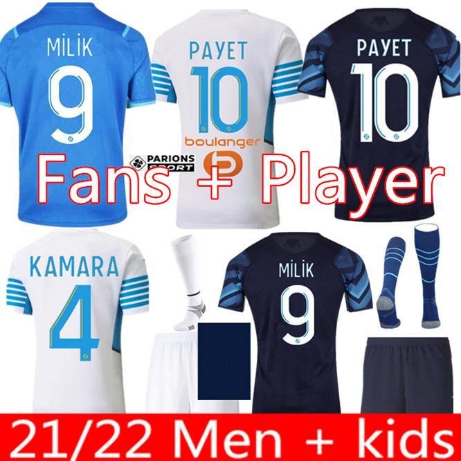 Olympique de Marseille Jerseys 2021 2022 Om Marseille Maillot Foot Konrad Guendouzi Gerson Payet Camisas 21 22 Kamara Milik Homens Kit Kit uniforme