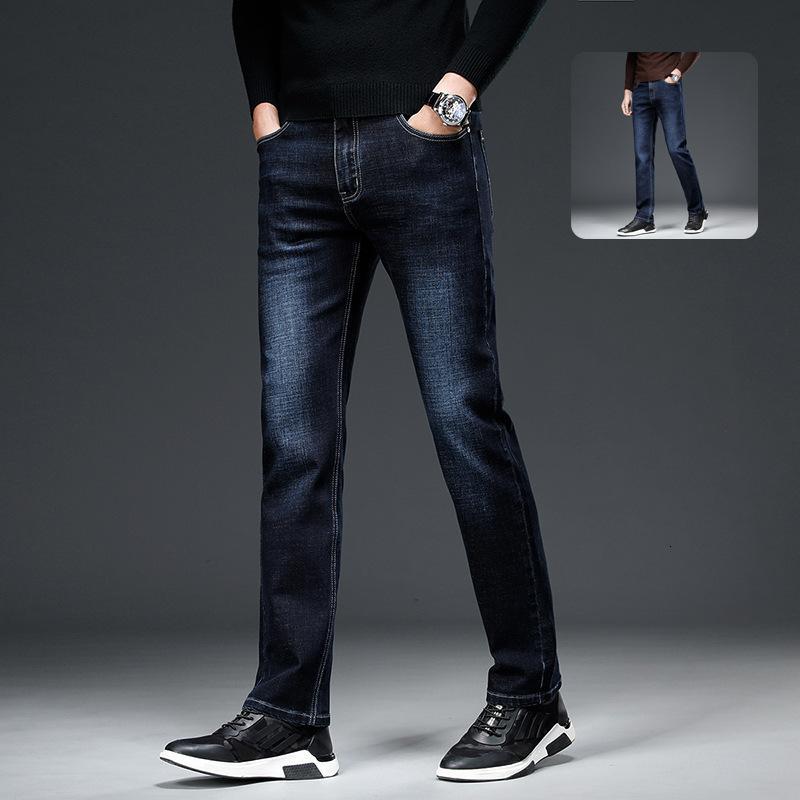 2021 Business Youth Molle Primavera e Autumn New Leisure Straight Uomo Catbeard Jeans Jeans Pantaloni da jeans