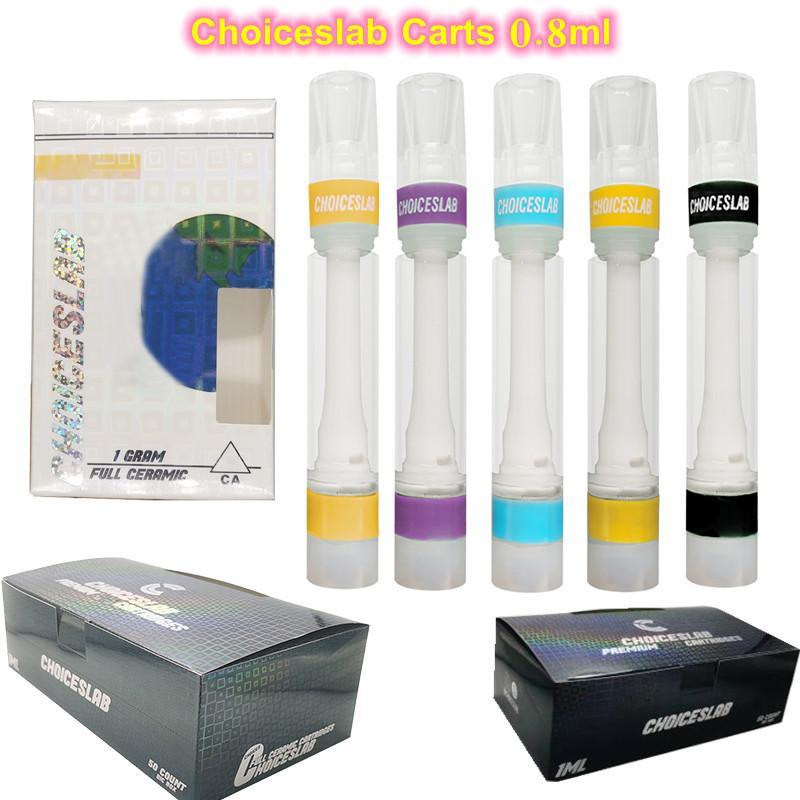 ChoicesLab Kartuşu 0.8ml 1.0 ml Tam Seramik Arabalar Atomizer Boş Tek Kullanımlık Vape Kalem 510 Kalın Yağ Kartuşları Ambalaj Hologram Ekran Kutuları 10 Suşlar