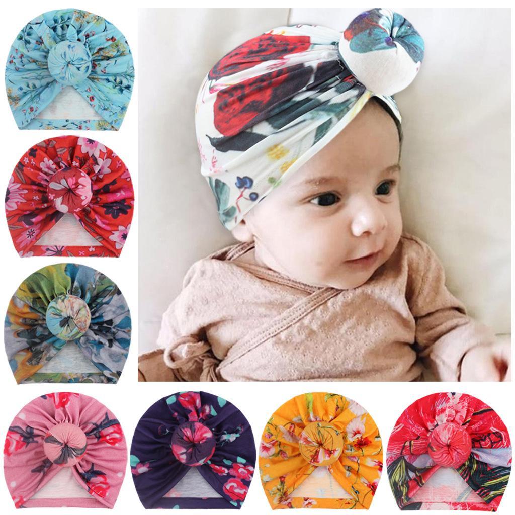 5pcs Baby Neonato Hat Bambini Ragazze Ragazzi Stampato Cappelli da ciambella Puntino Caps Cap Bambini Bambini Boutique Moda Capelli Accessori per capelli in 9 colori