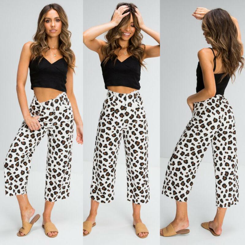 المرأة السراويل capris زائد حجم الصيف ليوبارد طباعة الحريم واسعة الساق فضفاض عارضة السراويل سليم صالح الترفيه ارتداء للنساء السيدات pantalon f