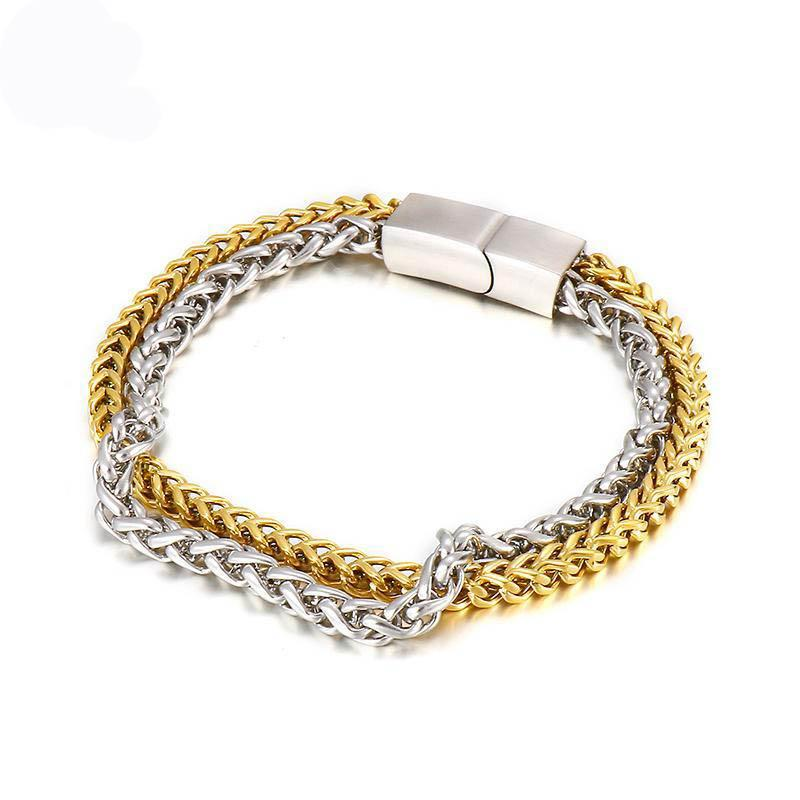 Bracelet de chaîne 220mm pour hommes Simple mode de style rétro double couche 316 en acier inoxydable,