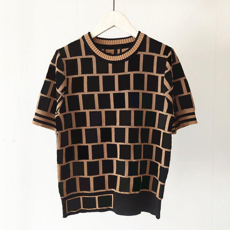 여성용 니트 탑스 패션 클래식 3 색 편지 패턴 여성 니트 티셔츠 짧은 소매 크루 넥 통기성 캐주얼 여자 의류