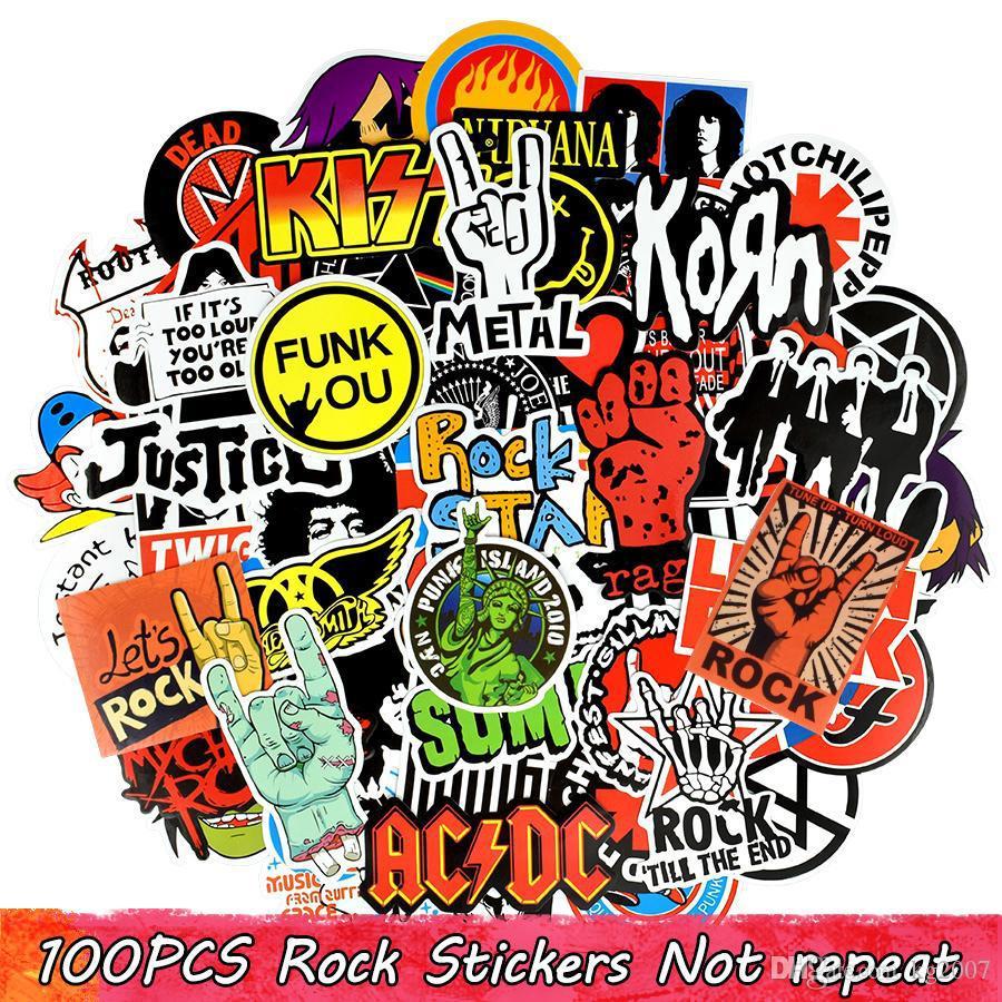 100 pcs étanche graffitis autocollants de graffitis rock décalques pour décor à la maison DIY Ordinateur portable Tasse à roulettes Skateboard Bagages Guitare PS4 Vélo Vélo Cadeaux de voiture