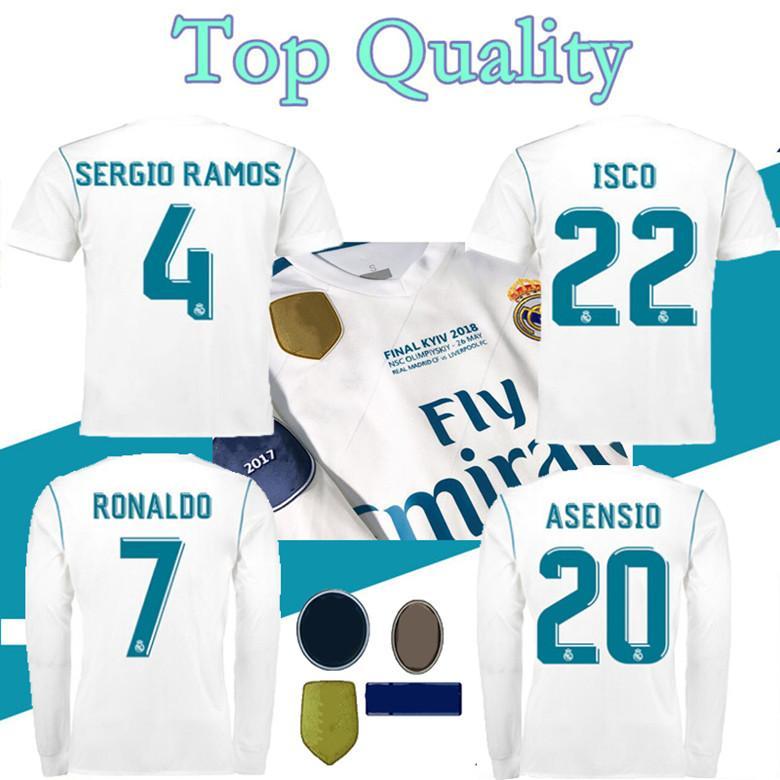 2017 2018 ريال مدريد لكرة القدم جيرسي 17 18 bale benzema madric الرجعية لكرة القدم قمصان خمر isco mailleot سيرجيو راموس رونالدو camiseta s-3xl قميص طويل وقميص