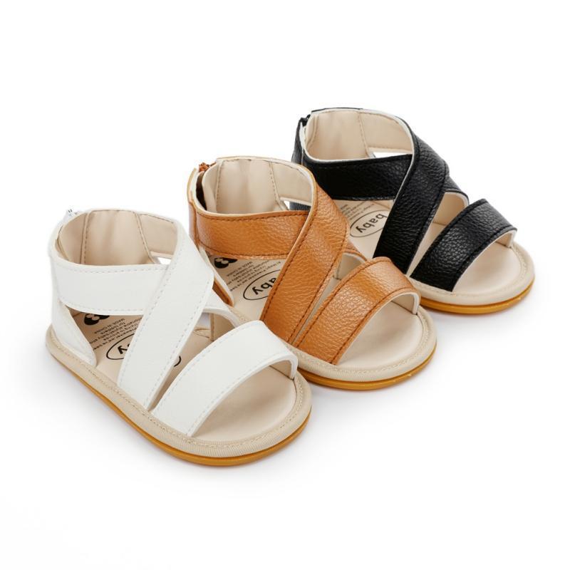 유아용 아기 소녀 소년 샌들 미끄럼 방지 PU 가죽 단단한 유아 첫 번째 워커 2021 연약한 솔 플랫 여름 태어난 아이 신발