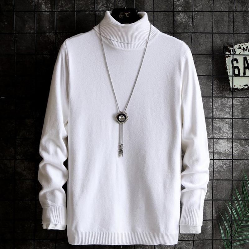 Rollkragenpullover Männer Koreanischer Trend Slim Strick Beiläufige Bodenschicht Vielseitige Pullover