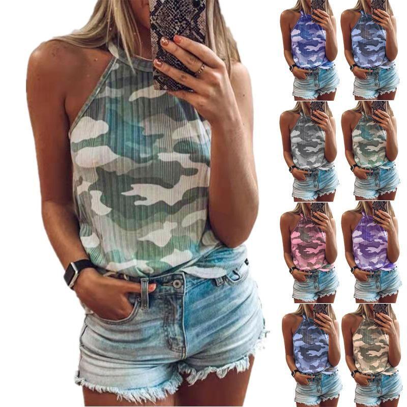 Camuflagem das mulheres do verão impressa o t-shirt sem mangas do halter