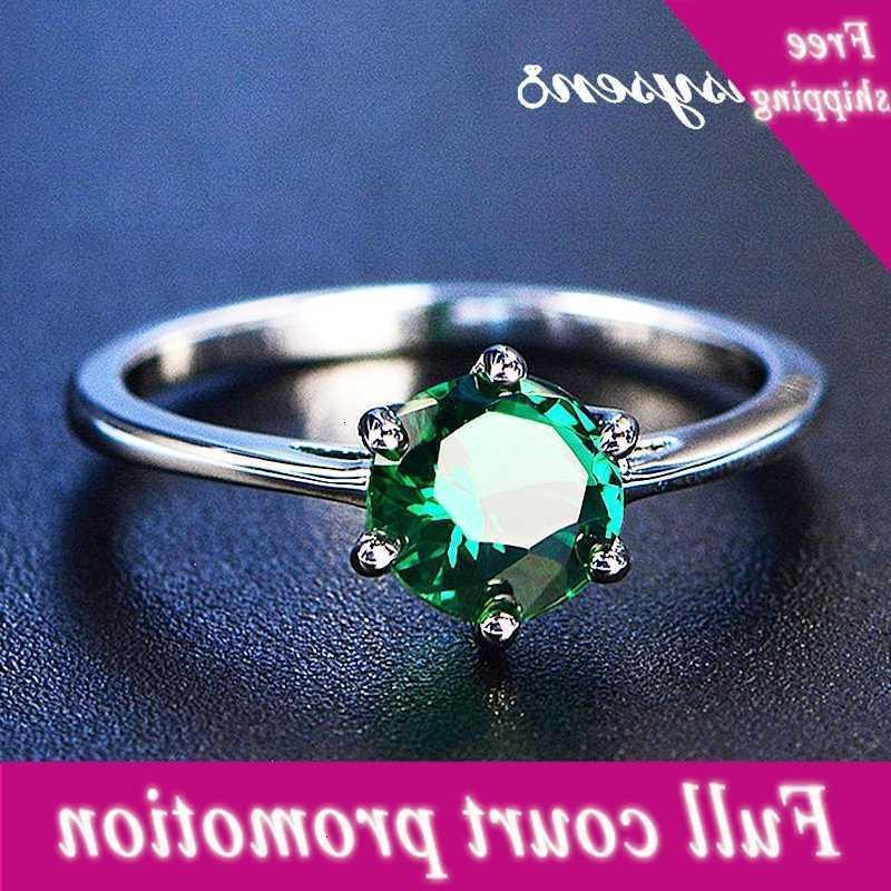 Pansysen Yeni Klasik 7mm Zümrüt Yüzükler Kadınlar Için Gümüş 925 Düğün Nişan Yüzüğü Taş Güzel Takı Parti Zehir