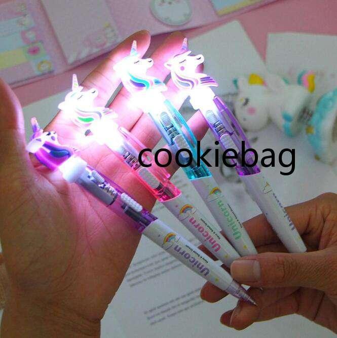 12 Color Cartoon Unicorn Light Pen LED Lights Silica Head Gel Glowing Ballpoint Student Stationery School Writing Gift Supplies zaf
