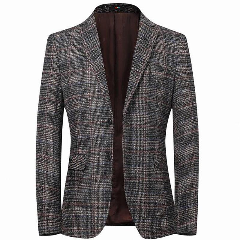 Giacca a strisce da uomo Giacca a gomito Tweed Tweed Blazer Cappotto Business Casual OverCoat M-4XL