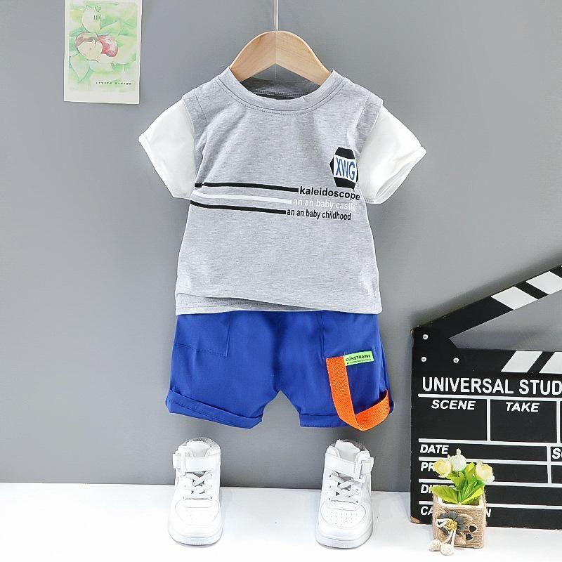 패션 소년 캐주얼 2021 여름 아기 옷 기하학적 글자 어린이 반팔 2 피스 정장 의류 세트